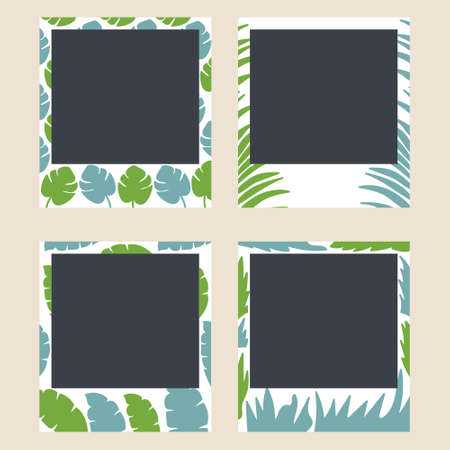Tropical plant frames for snapshots. Photo frames with exotic leaves. Set of photo card templates for photos. Minimalism. Editable Vector Illustration Foto de archivo - 129593607