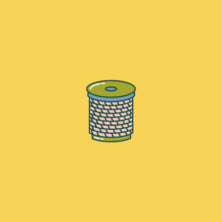 Coil of wire, thread, alloy, rope in a coil. Outline drawing. Flat style. Vector editable illustration