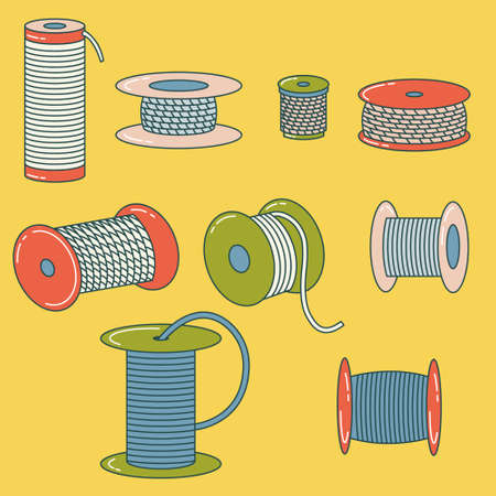Set of wire spools, thread, alloy, rope reel. Coil. Outline drawing. Flat style. Vector editable illustration