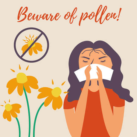 Girl with a handkerchief sneezes. Allergy. Runny nose. Allergy to pollen flowers. Watch out for pollen. Vector editable illustration