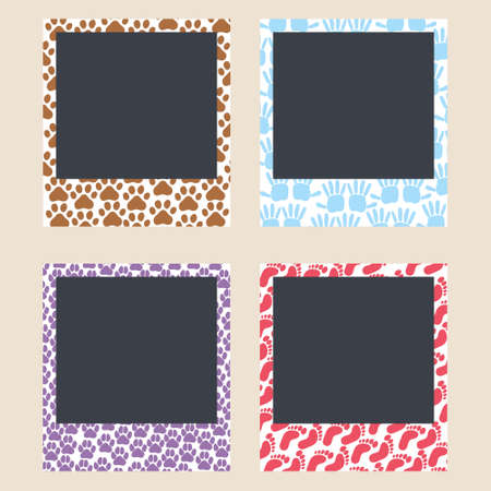 Cute frames for snapshots. Photo frames with traces of paws of a cat and a dog, traces of childrens hands and feet. Set of photo card templates for photos. Minimalism. Editable Vector Illustration 向量圖像