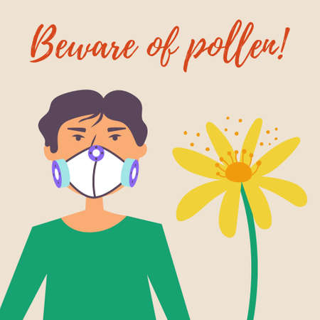 A guy in a protective mask suffers from allergies. Allergy to pollen of flowers. Vector editable illustration Illusztráció