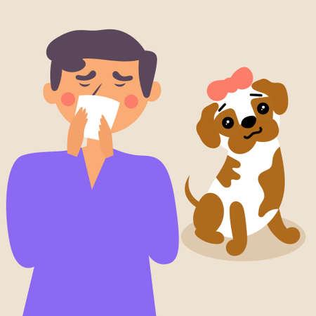 The guy sneezes into a handkerchief. Allergy to animal hair. Vector editable illustration Stockfoto - 130055943