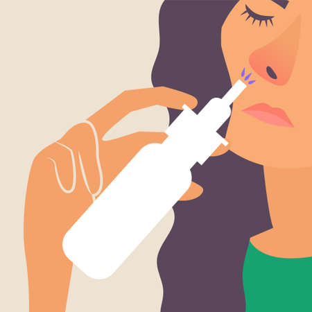 Girl with a runny nose. Treatment of a runny nose spray. Allergy. Vector editable illustration Ilustrace