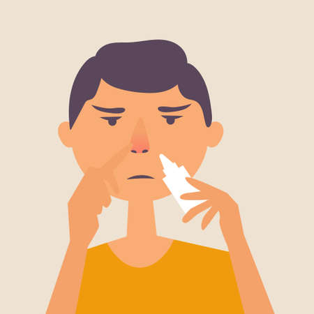 A guy with a runny nose. Treatment of a runny nose spray. Allergy. Vector editable illustration Ilustrace