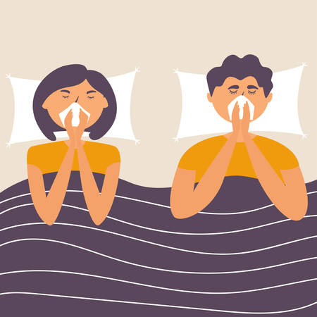 Husband and wife got the flu. Sick at home lie in bed. Virus infection. Allergy. Vector editable illustration