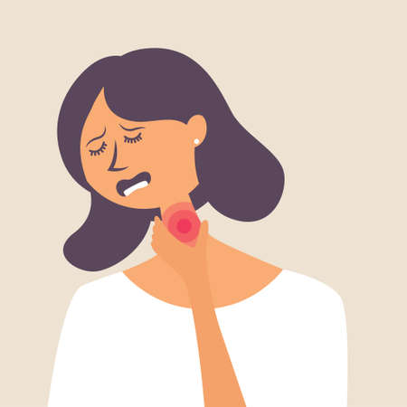 The girl has the flu. Viral infection. Sore throat, fever. Vector editable illustration