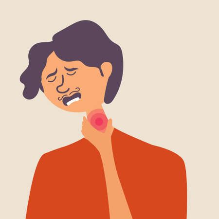 A man has the flu. Viral infection. Sore throat, fever. Vector editable illustration