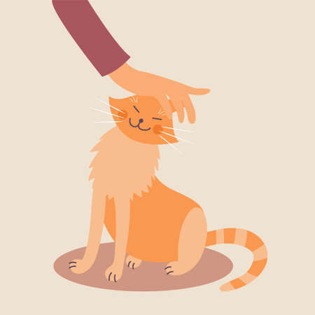 Hand stroking a cat. Good handling of animals. The manifestation of kindness. Vector editable illustration