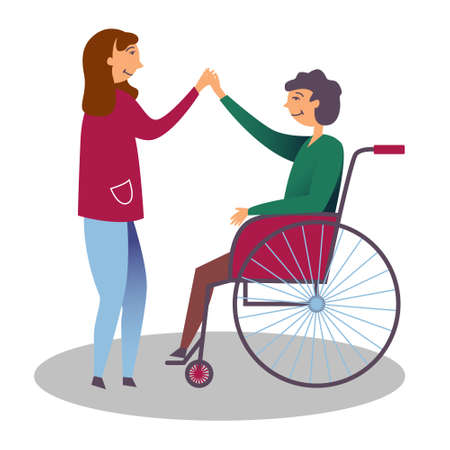 The girl is friends with a disabled boy in a wheelchair. Showing kindness to children with disabilities. Editable vector illustration
