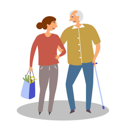 The girl helps to bring bags to an elderly person with a disability. The manifestation of kindness. Vector editable illustration