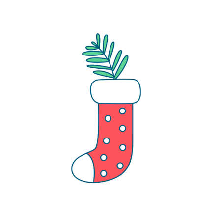 Christmas decoration for home, fireplace, door, Christmas tree. Christmas sock for gifts with a coniferous branch inside.