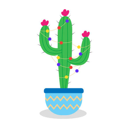 Christmas cactus with garlands in a pot. Green cactus with thorns and flowers. An alternative to traditional Christmas trees.  イラスト・ベクター素材