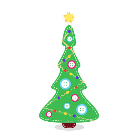 Christmas tree made of fabric with buttons. Stitched christmas tree. Alternative traditional christmas tree.
