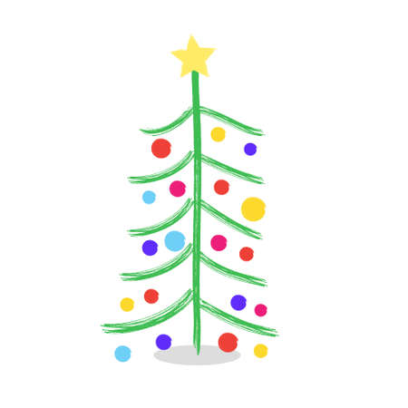 Christmas tree drawn by paints and pencils. Children Christmas tree. An alternative to a traditional Christmas tree.