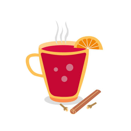 Tasty holiday drinks. Christmas party drink. Scandinavian mulled wine gleg. Hot cocktail with orange and cinnamon