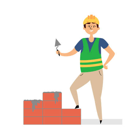 Builder lubricates bricks with cement. Small business construction. Man in a construction helmet and uniform. Vector editable illustration