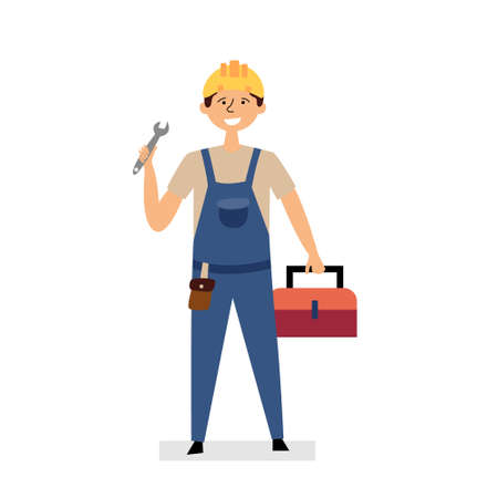 The repairman is holding a wrench and a suitcase with tools. Small business construction, repair. Man in a construction helmet and uniform. Vector editable illustration Ilustrace