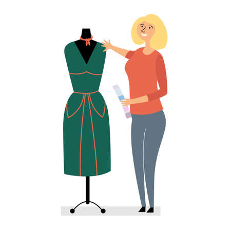 The clothing designer made the dress. Small business fashion design. Girl fashion designer chooses colors for clothes. Dress on a mannequin. Editable vector illustration