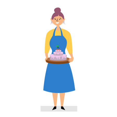 The girl baked a cake at home. Small business baking cakes at home to order. Girl cook smiles. Apron for cooking. Editable vector illustration