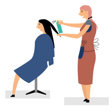 Girl hairdresser doing hairstyle. Small business hairdresser at home. Haircuts, hair styling. The girl caresses her hair. Personal care. Editable vector illustration