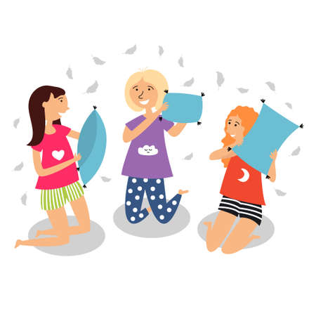 Children staged a pillow fight. Children in pajamas spend the night with friends. Girlfriends pajama party. Vector editable illustration