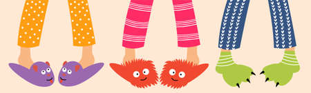 Childrens feet in funny slippers. Children in pajamas spend the night with friends. Pajama party. Vector editable illustration