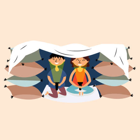 Children made a pillow and a blanket-fortress. Childrens building. Fortress made of pillows. Secret house of children. Pajama party. Childrens tent made of wooden chairs and blankets. Vector