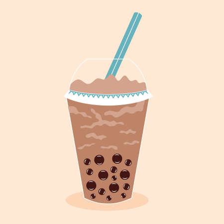 Tapioca Ball Tea. Coffee drink cocktail. Plastic glass with a straw. Vector editable illustration