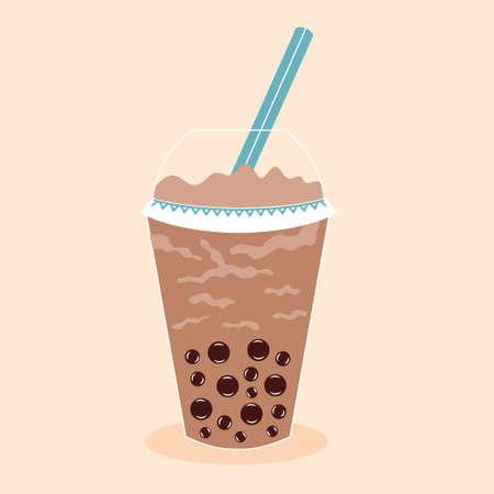 Tapioca Ball Tea. Coffee drink cocktail. Plastic glass with a straw. Vector editable illustration