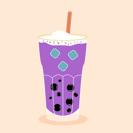 Bubble tea with tapioca with ice. Milk smoothie. Cocktail with a straw. Vector editable illustration 向量圖像