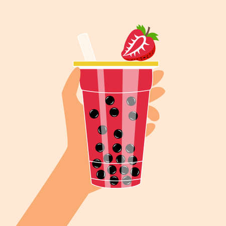 Bubble tea with tapioca and strawberries. Milk smoothie. Cocktail with a straw. Vector editable illustration Иллюстрация
