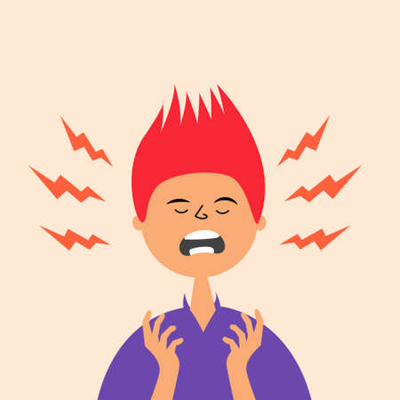 The guy is experiencing a stressful situation. Hysterical condition. Panic Nerves on edge. Vector editable illustration Иллюстрация