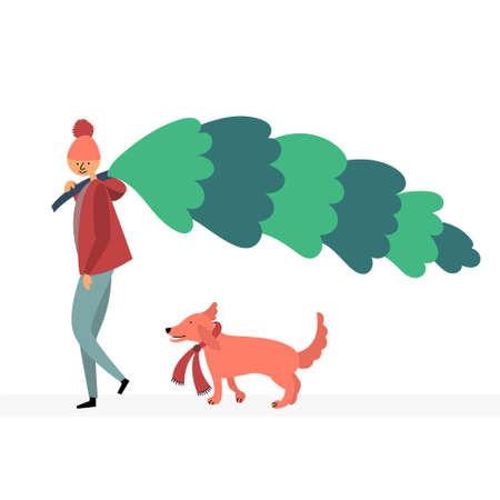 A guy with a dog bought a Christmas tree. Buying wood in the market. Bazaar Christmas sale. Walk with your pet. Vector editable illustration Standard-Bild - 131450774
