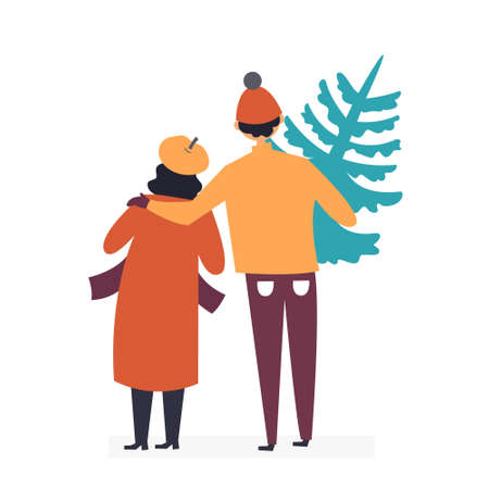 The family bought a Christmas tree. Buying wood in the market. Bazaar. Christmas sale. Satisfied with the purchase. Editable Vector Illustration Illustration