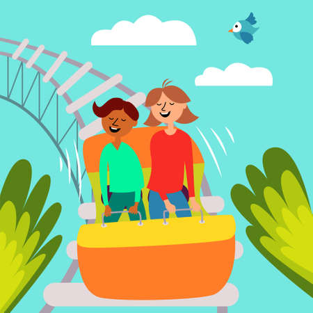 Girl and boy ride a roller coaster. Childrens attraction. Adrenaline. Thirst for speed and fun. Vector editable illustration