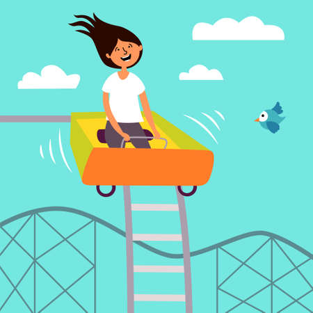 Funny girl riding a roller coaster. Children's attraction. Adrenaline. Thirst for speed and fun. Editable vector illustrations