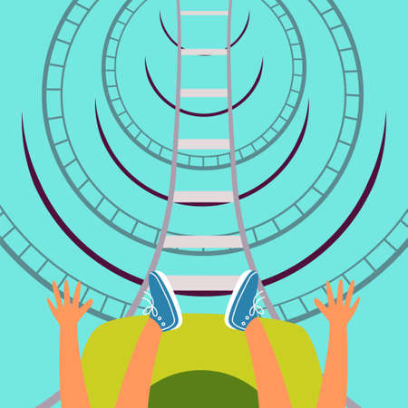 Roller coaster bottom view. Children's attraction. Adrenaline. Thirst for speed and fun. Editable vector illustrations Stock Illustratie