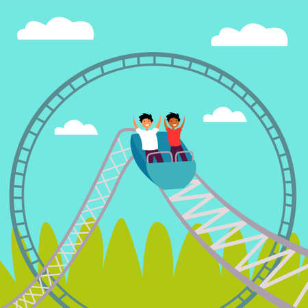 People ride a roller coaster. Childrens attraction. Adrenaline. Thirst for speed and fun. Editable vector illustration