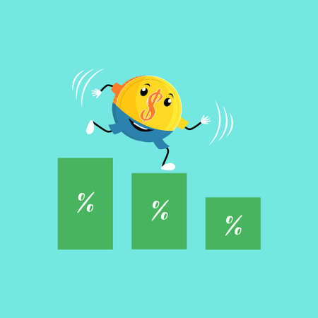 Reduction of the price rate. Rate cut. The falling dollar profit. Character coins the dollar. Vector editable illustration Фото со стока - 131312151
