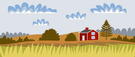 Countryside landscape. Panorama Autumn landscape with a rustic house. Vector