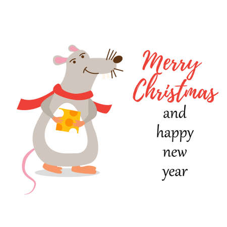 Christmas character rat. Happy New year and merry Christmas. Gray mouse with yellow Parmesan cheese. Vector