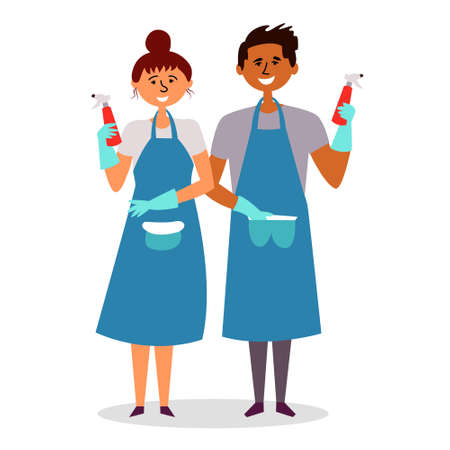 The girl and the guy with aprons carry out cleaning, cleaning with detergents. Cleaning staff. Vector