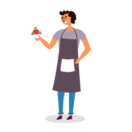 Guy cook in an apron tosses an Apple. Preparation for the preparation of fruit dessert. Snack Vector