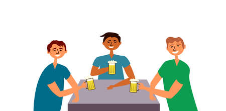 Friends guys drink beer. People gathered at the common table drinking and having fun. Friendly feasts. Toast. Alcoholic beverage. Bar. Vector Vectores