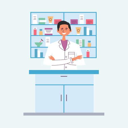 Guy brunette pharmacist behind the counter. Seller of medical drugs. The modern pharmacy. Vector