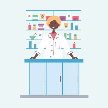 African American girl pharmacist behind the counter. Seller of medical drugs. The modern pharmacy. Vector Banco de Imagens - 132283267