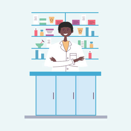 African American guy pharmacist behind the counter. Seller of medical drugs. The modern pharmacy. Vector