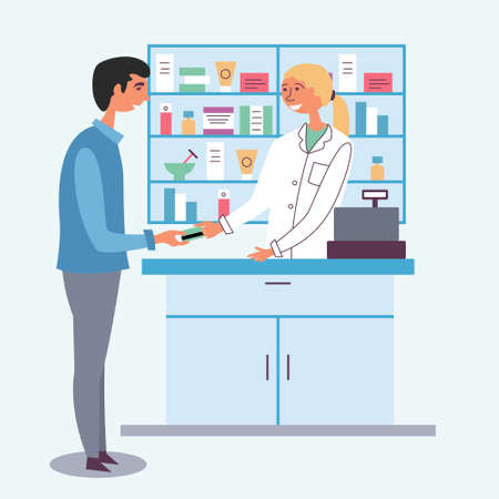 Pharmacist girl accepts payment from customer. Payment by credit debit card. Seller of medicines. The modern pharmacy. Cash register. Vector Иллюстрация