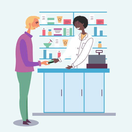 Pharmacist guy accepts payment from the customer. Payment by credit debit card. Seller of medicines. The modern pharmacy. Cash register. Vector